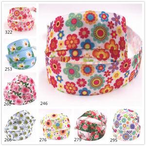 DIY-5-10Yard-25MM-Printed-flower-Grosgrain-Ribbon-Hair-Bow-Sewing-Ribbon-Craft