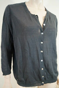 BRORA-Charcoal-Grey-Linen-amp-Cotton-Blend-Round-Neck-Sheer-Cardigan-Top-UK16