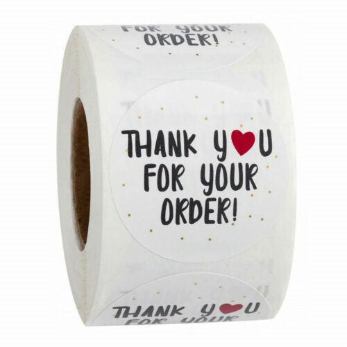 Round THANK YOU FOR YOUR ORDER Stickers Labels Craft Gift Purchase Business