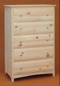 Details About New Amish Custom Made Pine Unfinished 5 Drawer Chest Finishing Available