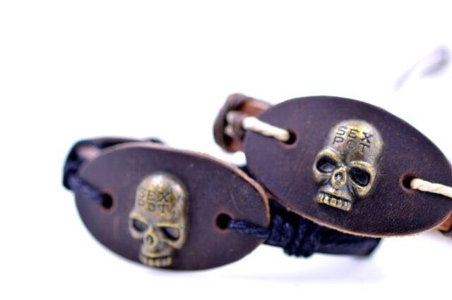 """Adjustable """"Sexpot"""" bronze skull leather bracelet. Black or white thread. Tribal"""