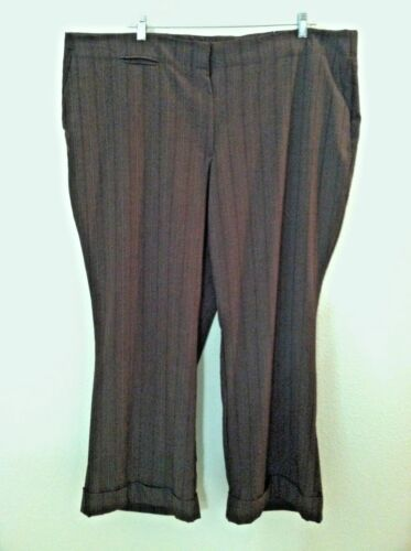 pantalons rayures métallique taille robe à travail brun fines avenue extensible 24w femmes E9IHD2