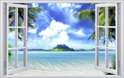 Île Plage Beach Palmiers Mer Mural Sticker Autocollant f0083