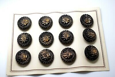 24pcs 18mm RARE BIG BLACK GLASS BUTTONS 40s-50s ON ORIGINAL VINTAGE CARD SEWING