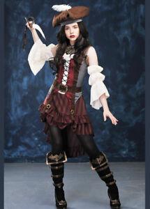 d4335cbd105 Details about Womens Brown Castaway Pirate Costume