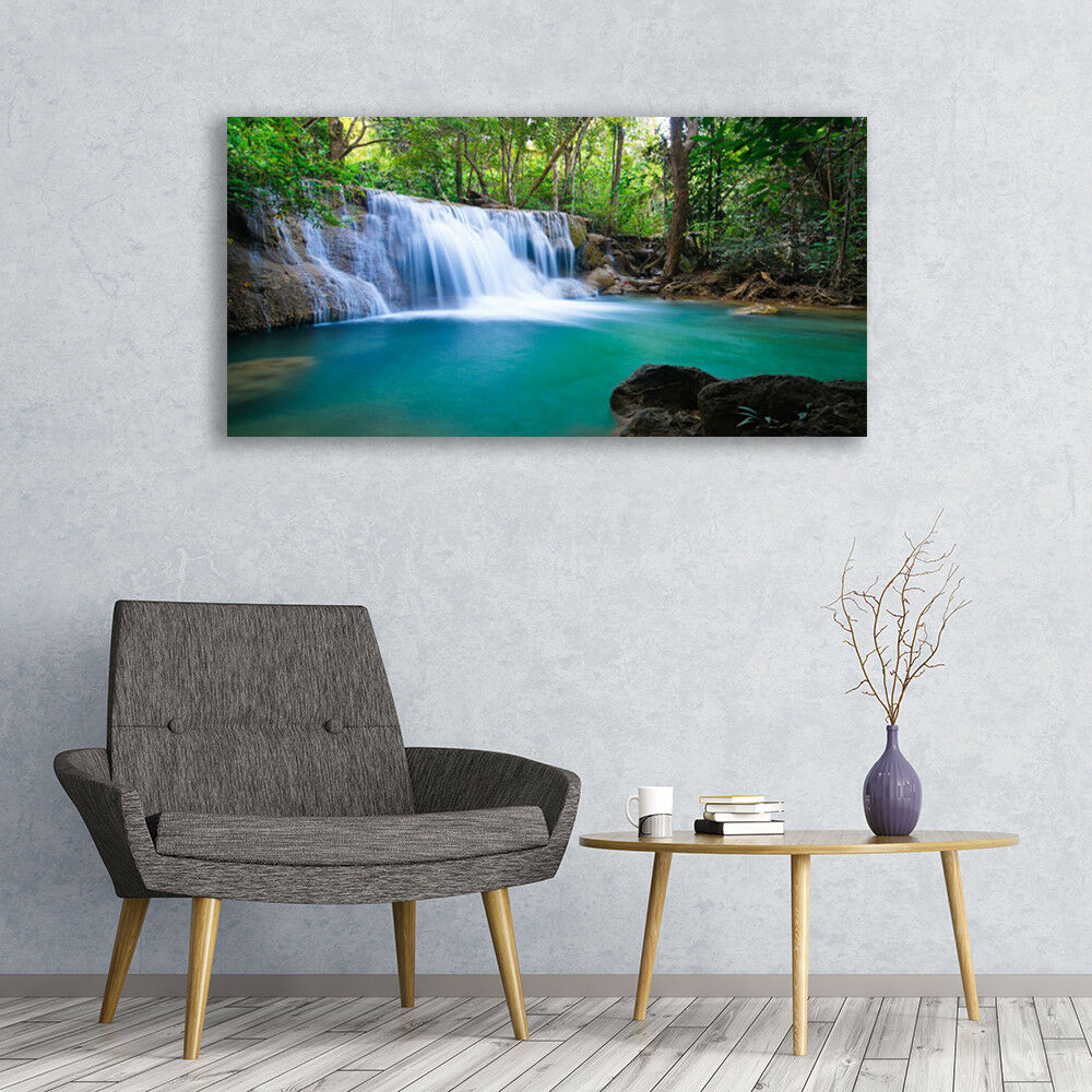 Canvas print Wall art on 120x60 120x60 120x60 Image Picture Waterfall Lake Forest Nature 6c71df