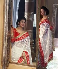 Latest Designer bollywood sari Indian off white Embroidered Partywear saree