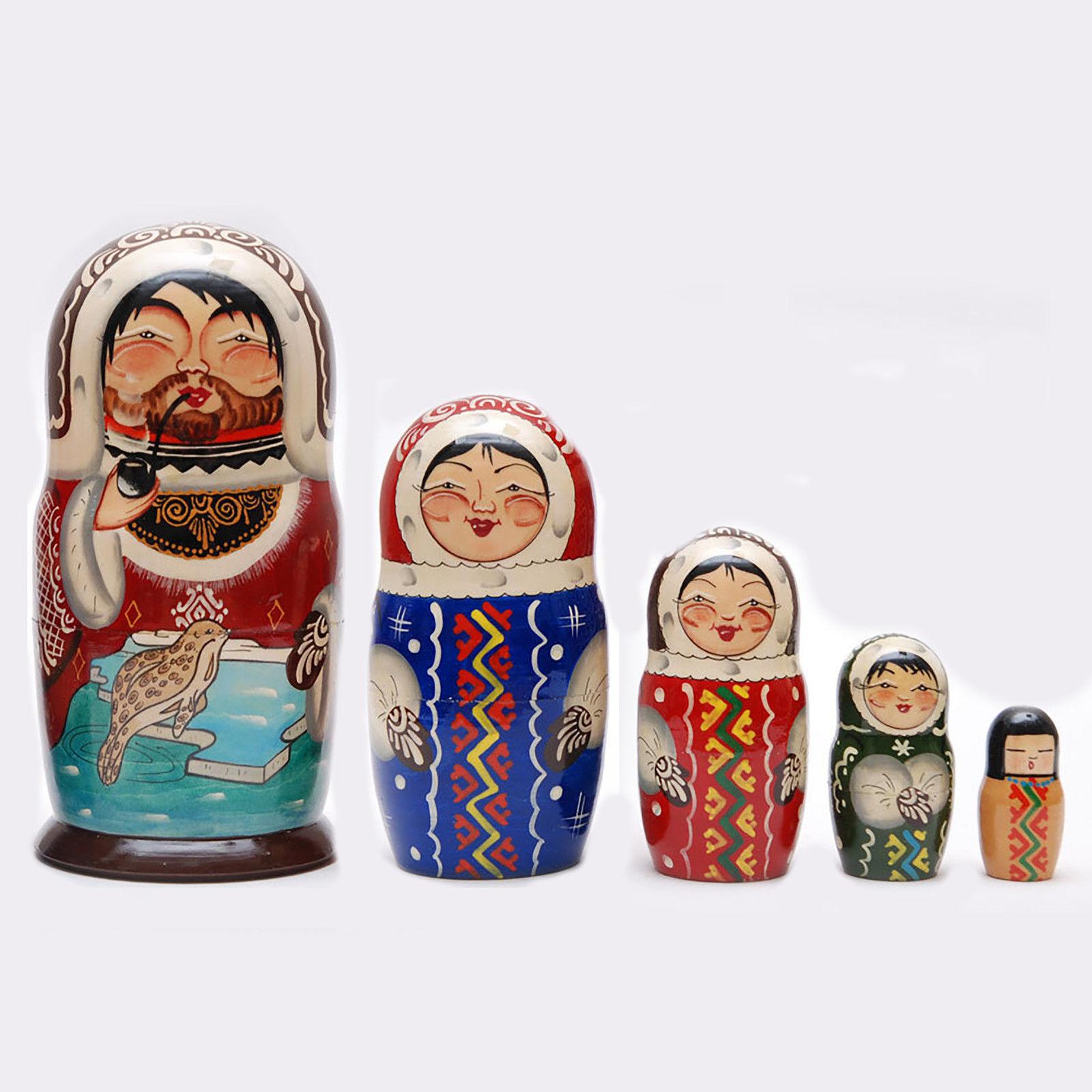 Nesting dolls Nothern people Eskimos matryoshka Hand-painted Signed 7
