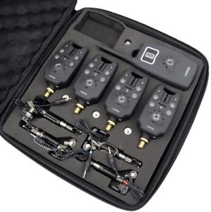 4-x-Wireless-Bite-Alarms-amp-Receiver-4-illuminated-Hanger-set-Carp-Alarm-LED