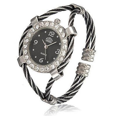 Design Steel Wire Crystal Quartz Beauty Bracelet Wrist Watch For Women Girls NEW