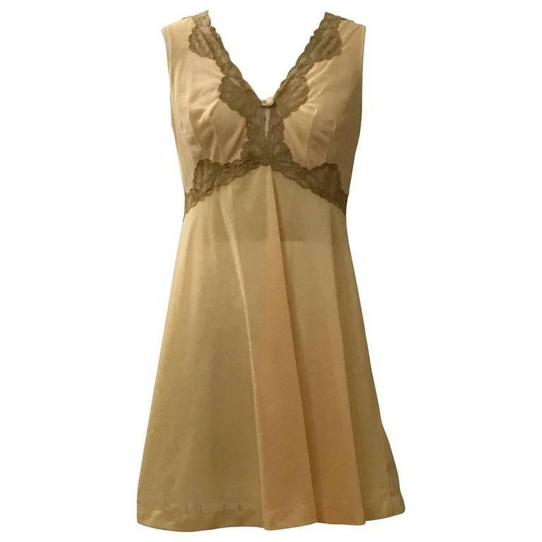 Emilio Pucci for Formfit Rogers VTG 1960s Peach Beige Chemise Slip Nightgown S