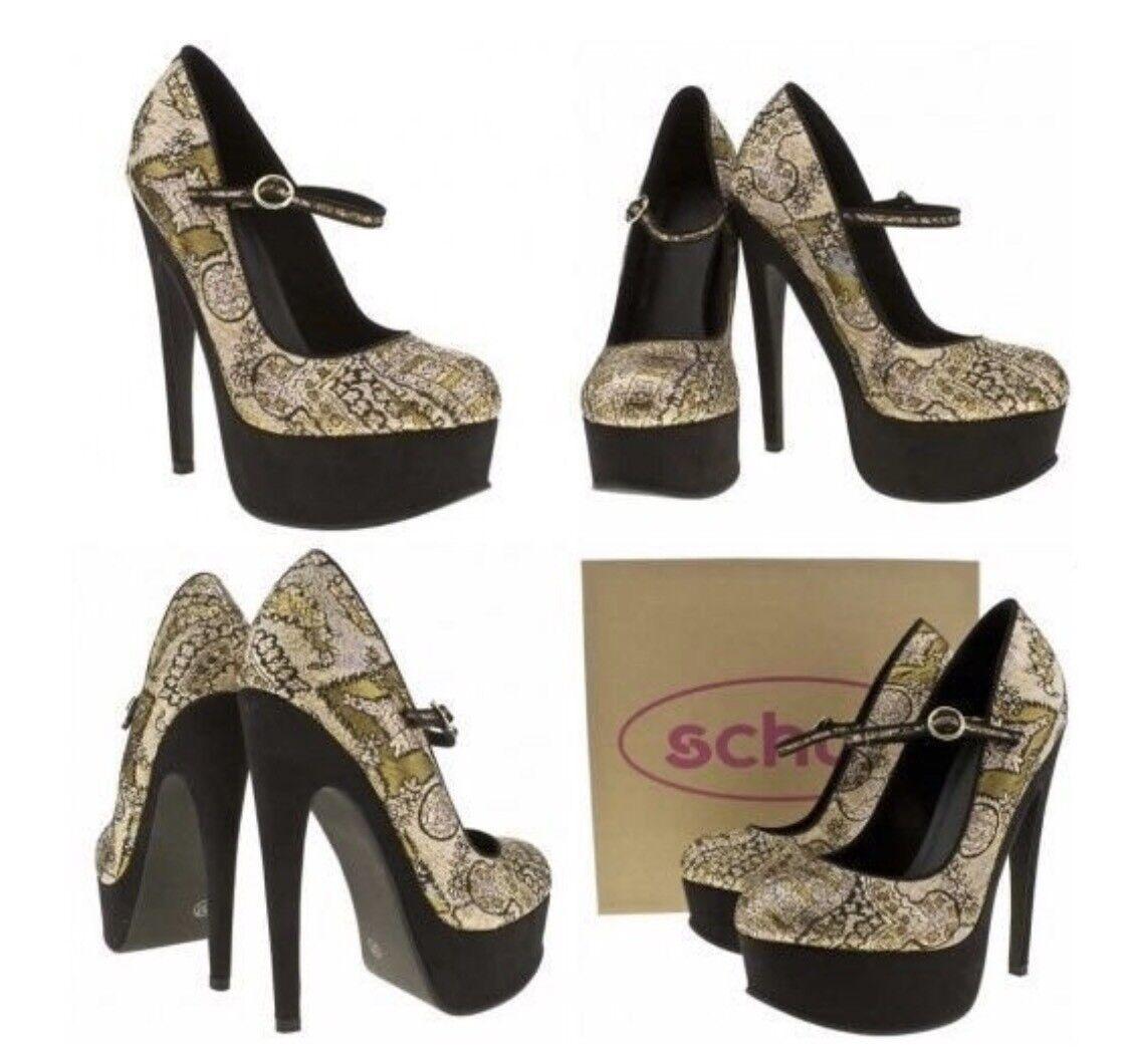 Rose or argent lurex Schuh 'Night Wish' mary jane platform heels Taille 5 bnib