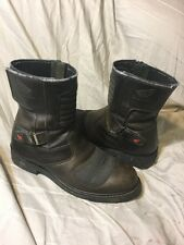 Vtg Honda Leather Motorcycle Biker Riding Men's Distressed Rocker Boots Size 12