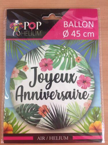 Ballon Alu Rond JOYEUX ANNIVERSAIRE TROPICAL 45 cm