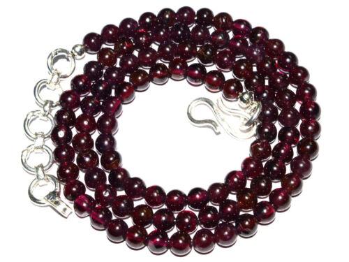 "K-0044 Garnet Natural Gemstone Round Spacer Plain Loose Beads 4mm 18/"" Necklace"
