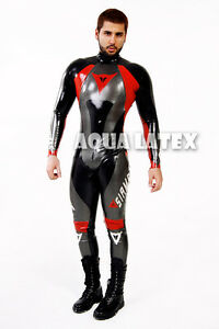 custom moto suit men rubber body suit latex costume rubber latex zentai catsuit ebay. Black Bedroom Furniture Sets. Home Design Ideas