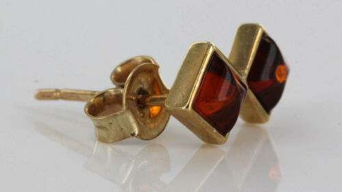 Italian made unique Cognac Baltic Amber Studs In 9ct Gold GS0022 RRP £100!!!