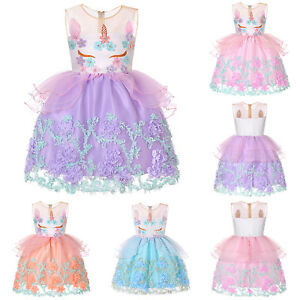 d569489ab82 Image is loading Floral-Tulle-Kids-Girl-Lace-Unicorn-Bridesmaid-Pageant-