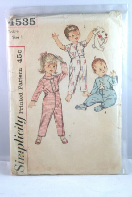 4535 SIMPLICITY Printed Pattern Toddler Size 1 Pajamas  Vintage SEWING PATTERN
