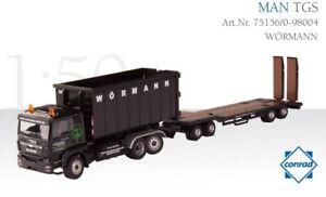 Conrad-75156-0-MAN-TGS-Roll-off-Dump-Tag-Trailer-WORMANN-1-50-Die-cast-MIB