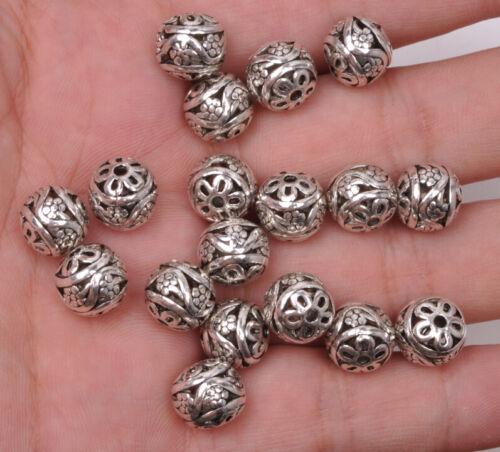 encanto plata tibetana Hueco Flor Perla suelta espaciador perlas 10x11mm A3065 10 un