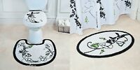 Elegant Black White Floral Green Flower Nonskid Bath Rug Oval Mat Set Decor