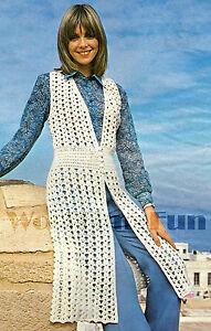Vintage Crochet Pattern Ladys Long Summer Waistcoatsleeveless
