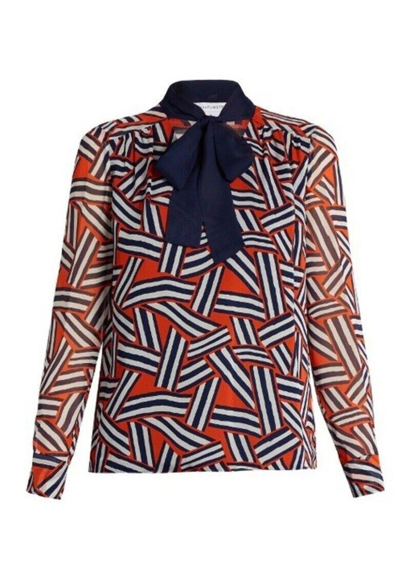 Diane Von Furstenberg britni Manche Longue Cravate En Soie Chemisier Femme Taille 8