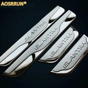 For-2012-2013-2014-Hyundai-Elantra-Chrome-Door-Sill-Scuff-Plate-Trim-Accessories