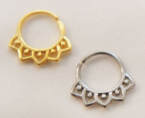 16G-18G Spiked Floral Tribal Fan Ornate Beaded Septum Nose Jewelry Capture Ring