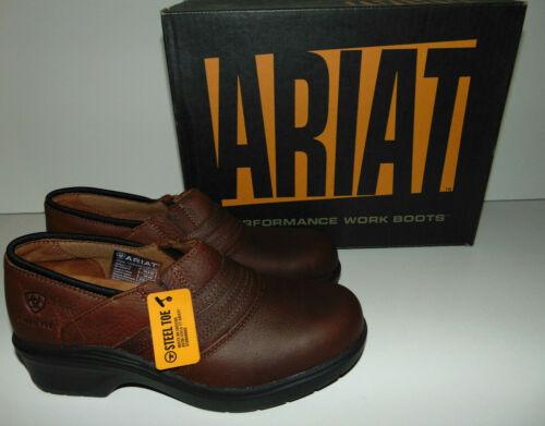 ARIAT WOMEN/'S GOLDEN BROWN LEATHER STEEL TOE SAFETY CLOG 10002367 SUPER COMFY!!!