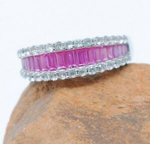 STERLING SILVER PINK AND WHITE TOPAZ BAGUETTE RING - 7