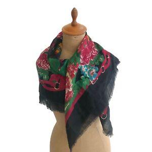 Echo-Women-039-s-Wool-Challis-Scarf-Plaid-Floral-Bridle-Print-Black-Large-Square