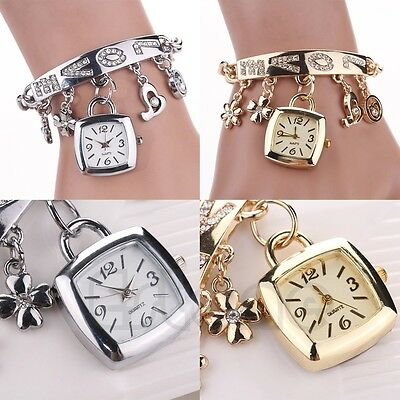 Fashion Women's Chic Love Rhinestone Stainless Steel Chain Bracelet Wrist Watch