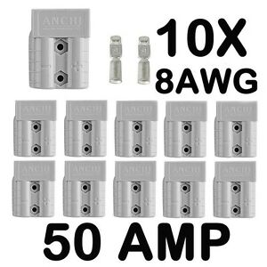 10-x-ANDERSON-STYLE-50-AMP-PLUG-CONNECTORS-HD-Springs-8AWG