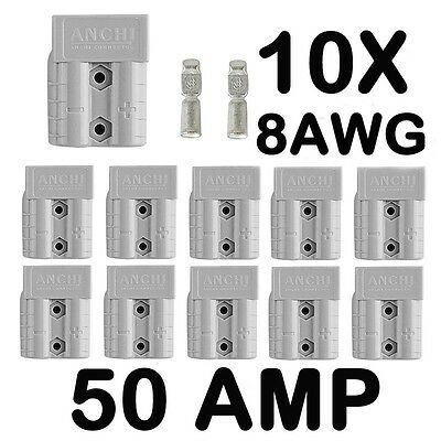 10 x ANDERSON STYLE 50 AMP PLUG CONNECTORS HD Springs 8AWG