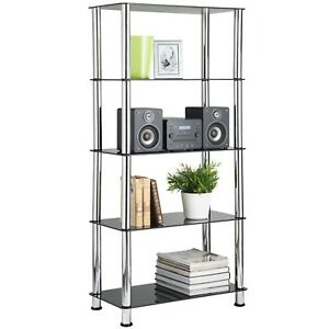 Image Is Loading VonHaus 5 Tier Bookshelf Black Glass Shelving Unit