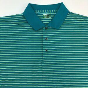 Ben-Hogan-Performance-Polo-Shirt-Mens-XXL-Green-Stripe-Short-Sleeve-Casual-Golf