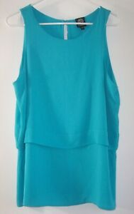 Bobeau Sleeveless Pullover Top Women's L Layered Turquoise Career Blouse Keyhole