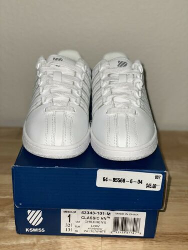 Details about  /K-SWISS Classic Low White 53343-101 M Shoes Sneakers Boys Girls Youth Size 1y