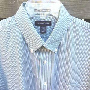 1f4426bc91 LANDS' END Cotton Pinpoint Oxford Dress Shirt Men's 17 - 37 Trad Fit ...