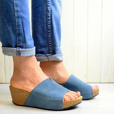 M/&S Footglove Mujer Cuero Zapatos Planos Más Amplio Ajuste Talla UK8//EUR42