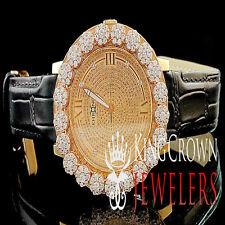 Rose Gold Finish Real Diamond Mens Khronos Joe Rodeo Cluster Bezel Iced Watch