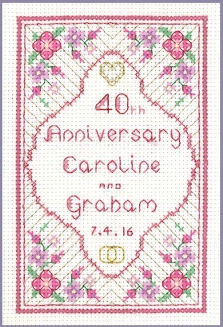 40th Ruby Anniversario Di Matrimonio Cross Stitch CARD KIT