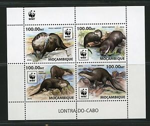 MOZAMBIQUE 2016 WORLD WILDLIFE FUND WWF OTTER SHEET MINT NH