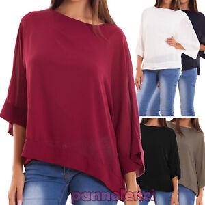 Maglia-donna-maxi-ampia-velata-maniche-3-4-maglietta-elegante-nuova-AS-2304