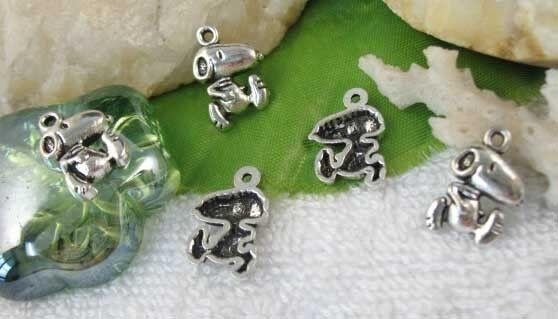 Tibetan Silver Snoopy Dog Charms 30Pcs H0038