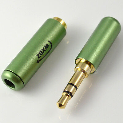 """1set 1/8"""" 3.5mm male 3 pole stereo plug + female jack  Audio TRS connector green"""