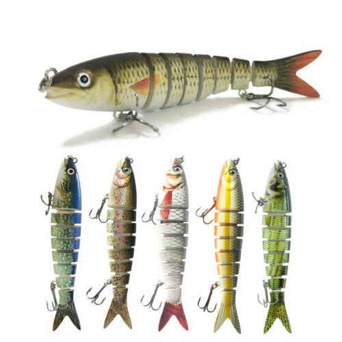 5PCS 13.5cm Multi Jointed Fishing Plastic Treble Hook Hard Bait Crankbait Lures