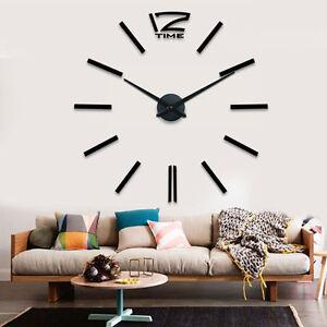 Das Bild Wird Geladen Schwarze DIY Riesen Designer Wohnzimmer Wanduhr  InXXL 3D